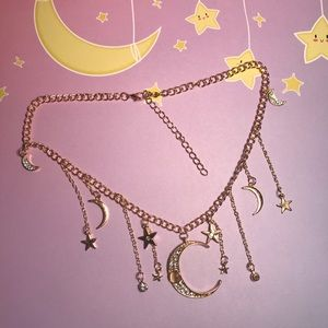 Moon & Star drop gold choker necklace rhinestones